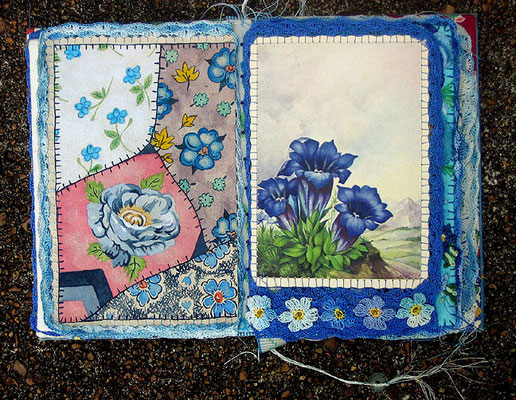 The Blue Flower. Interior pages. Watercolor and crochet with vintage postcard.