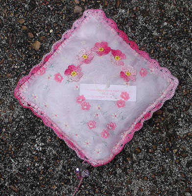 "Comforting Object - Pink. Vintage handkerchief with mixed media elements. 5"" X 5"" X 3.25"". NFS."