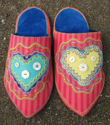 Heart Slippers. Recycled cotton and velvet. Appliqued with hand-embroidery and crochet. Women's size 7. $150.
