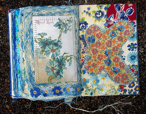 The Blue Flower. Final page and inside back cover. Vintage postcard, crochet, and patchwork with embroidery.