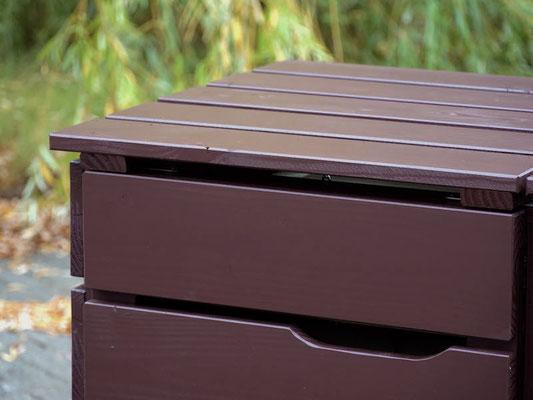 3er Mülltonnenbox / Mülltonnenverkleidung Holz, Oberfläche: Dunkelbraun / Schokoladenbraun (RAL 8017)