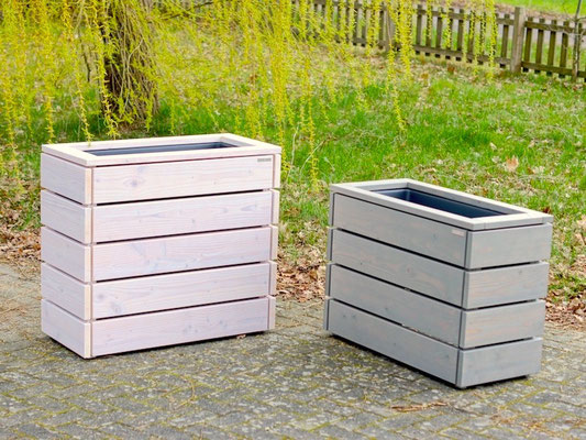 Pflanzkasten / Pflanzkübel Holz M, Oberfläche: Transparent Weiß