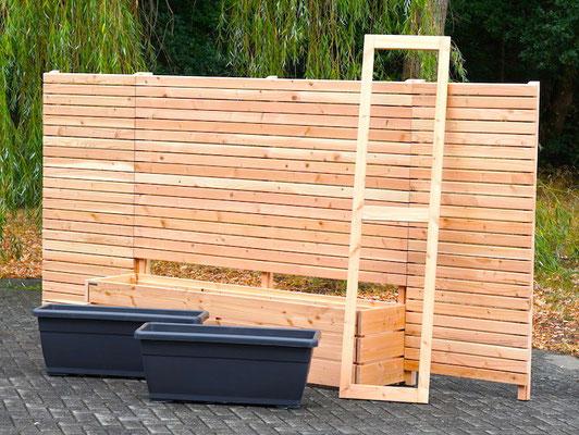Sichtschutz mit Pflanzkasten nach Maß, Gesamtlänge: 372 cm, Oberfläche: Natur