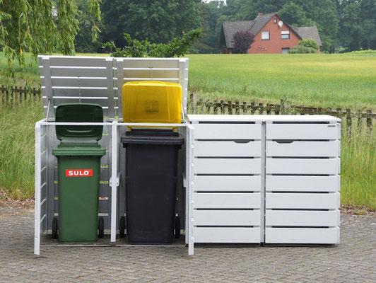 Mülltonnenbox / Mülltonnenverkleidung aus Holz / Edelstahl, Oberfläche: Lichtgrau