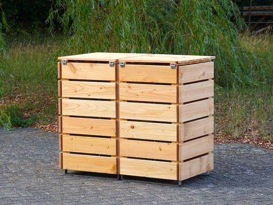 Rückseite 2er Mülltonnenbox / Mülltonnenverkleidung Holz, Oberfläche: Natur Geölt