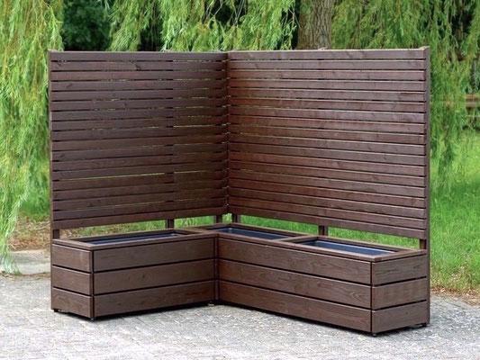 Pflanzkasten Holz Ecke mit Sichtschutz, Länge: 212 cm, Höhe: 180 cm, Oberfläche: Deckend Geölt Dunkelbraun
