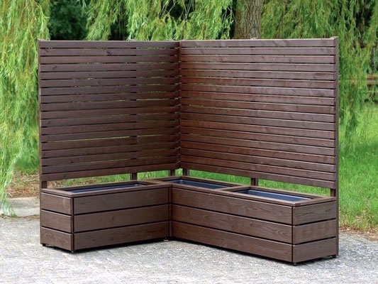 Pflanzkasten Holz Lang mit Sichtschutz, Länge: 212 cm, Höhe: 180 cm, Oberfläche: Dunkelbraun