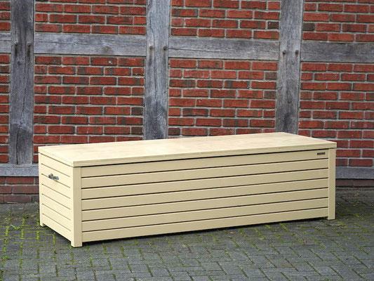 Auflagenbox / Kissenbox Holz nach Maß, Oberfläche: Beige RAL 1001, atmungsaktiv & wasserdicht