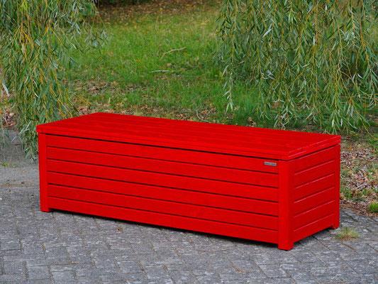 Truhenbank / Sitzbank Holz L, Oberfläche: Nordisch Rot, atmungsaktiv & wasserdicht