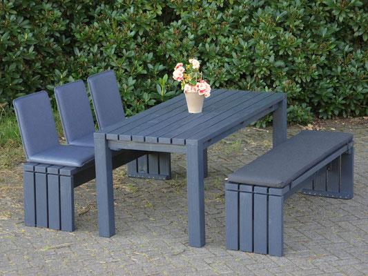 Gartenmöbel Set 3 Holz, Tischgröße: 180 x 80 cm, Oberfläche: Anthrazit, mit Polster & Sitzschalen