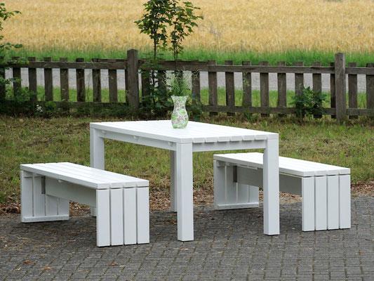 Gartenmöbel Set 3 Holz, Tischgröße: 180 x 80 cm, Oberfläche: Weiß