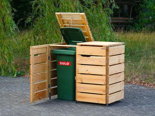 2er Mülltonnenbox / Mülltonnenverkleidung Holz, Oberfläche: Natur Geölt