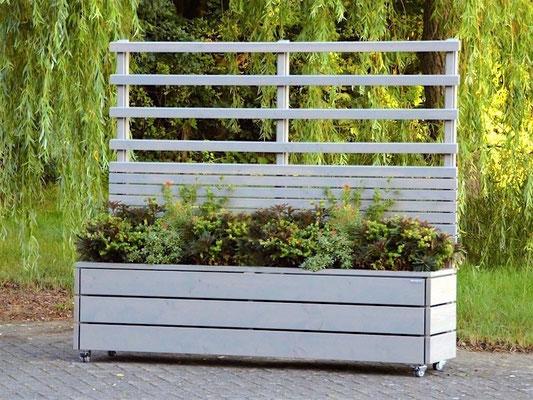 Pflanzkasten Holz mit Sichtschutz + Rankgitter / Spalier nach Maß, Länge: 212 cm, Oberfläche: Transparent Grau