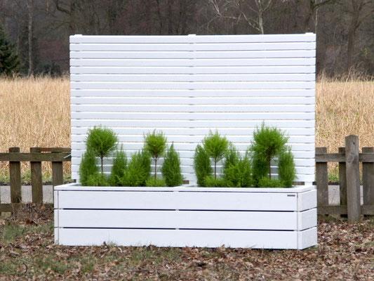 Pflanzkasten mit Sichtschutz Holz, Deckend Weiß