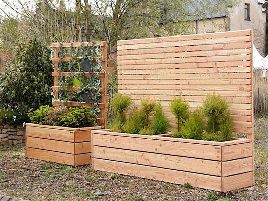 Pflanzkasten Holz Lang mit Sichtschutz, Länge: 212 cm, Höhe: 180 cm, Oberfläche: Natur