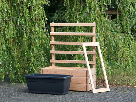 Pflanzkasten Holz L mit Rankgitter / Spalier, Maße: 112 x 55 x 150 cm, Oberfläche: Natur