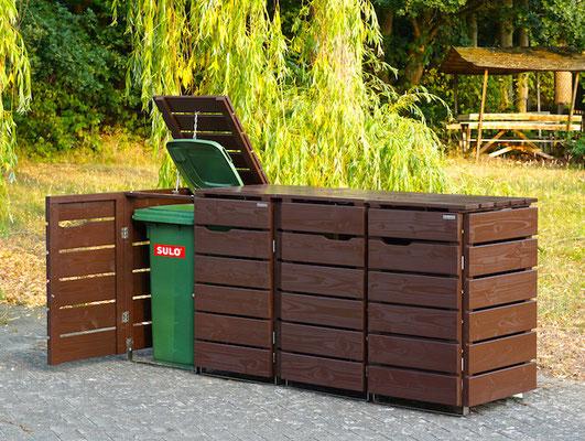 4er Mülltonnenbox / Mülltonnenverkleidung Holz, Oberfläche: Dunkelbraun