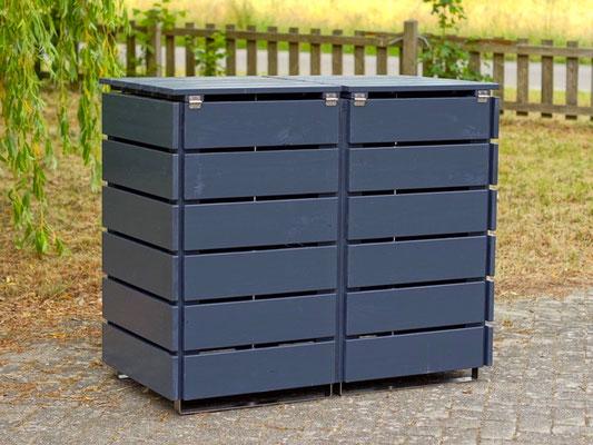 Rückseite 2er Mülltonnenbox / Mülltonnenverkleidung Holz 120 L, Oberfläche: Deckend Geölt Anthrazit Grau
