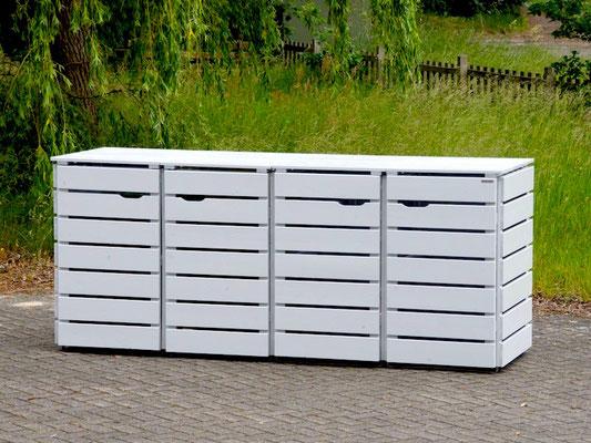 4er Mülltonnenbox / Mülltonnenverkleidung Holz, Oberfläche: Deckend Geölt Lichtgrau
