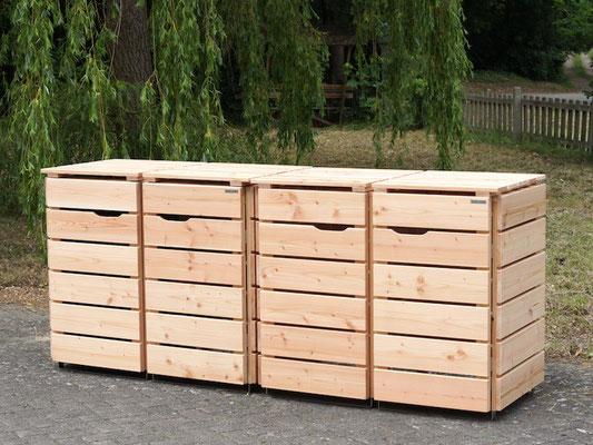 4er Mülltonnenbox / Mülltonnenverkleidung Holz 120 L, Oberfläche: Natur