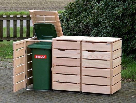 3er Mülltonnenbox / Mülltonnenverkleidung Holz 120 L, Oberfläche: Natur