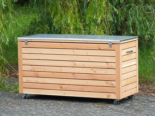 Auflagenbox / Kissenbox Holz mit Edelstahl - Deckel, Oberfläche: Natur Geölt