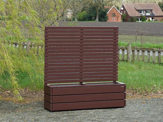 Pflanzkasten Holz Lang M mit Sichtschutz nach Maß, Oberfläche: Dunkelbraun