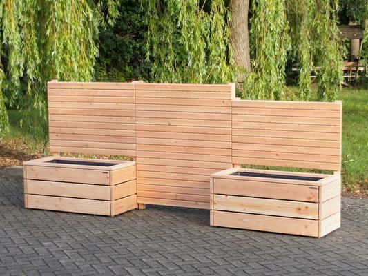 Pflanzkasten Holz mit Sichtschutz, Oberfläche: Natur