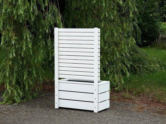 Rückseite Pflanzkasten Holz mit Sichtschutz, Länge: 92 cm, Höhe: 150 cm, Oberfläche: Weiß