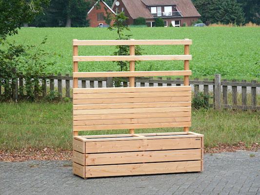 Pflanzkasten mit Rankgitter / Sichtschutz Holz nach Maß, Oberfläche: Natur Geölt