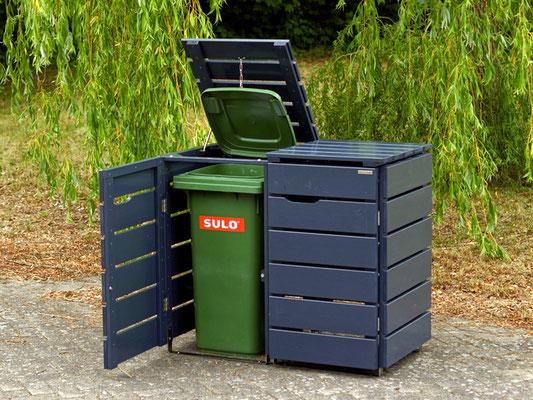 2er Mülltonnenbox Holz, für 120 L & 240 L Tonnen, Deckend Geölt Anthrazit Grau