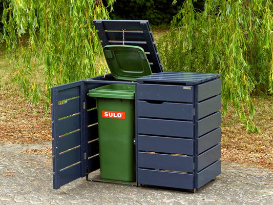 2er Mülltonnenbox / Mülltonnenverkleidung Holz, für 120 L & 240 L Tonnen, Oberfläche: Anthrazit