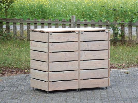Rückseite 2er Mülltonnenbox / Mülltonnenverkleidung 120 L Holz, Oberfläche: Transparent Grau