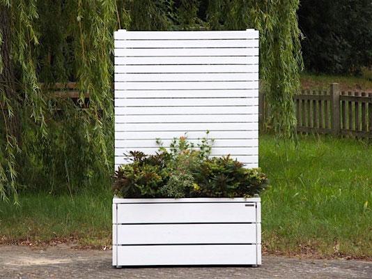 Pflanzkasten Holz mit Sichtschutz, Länge: 112 cm, Höhe: 180 cm, Oberfläche: Deckend Geölt Weiß