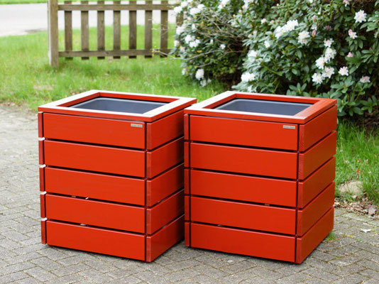 Pflanzsäule / Pflanzkübel Holz L, Oberfläche: Nordisch Rot