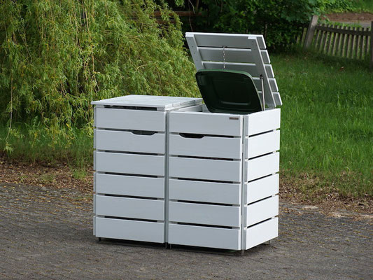 2er Mülltonnenbox / Mülltonnenverkleidung Holz 120 L, Oberfläche: Lichtgrau (RAL 7035)