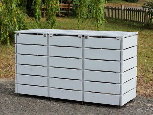 3er Mülltonnenbox / Mülltonnenverkleidung Holz, Oberfläche: Lichtgrau