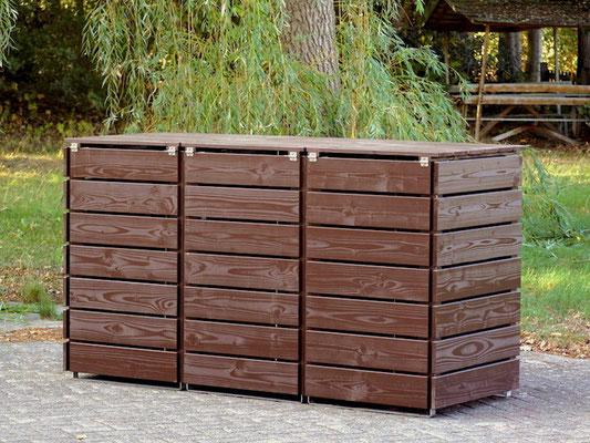 3er Mülltonnenbox / Mülltonnenverkleidung Holz 240 L, Oberfläche: Dunkelbraun / Schokoladenbraun (RAL 8017)
