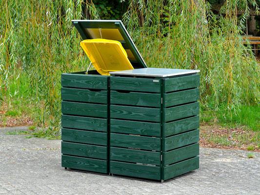 2er Mülltonnenbox Edelstahl / Holz - Deckel, Oberfläche: Tannengrün (RAL 6009)