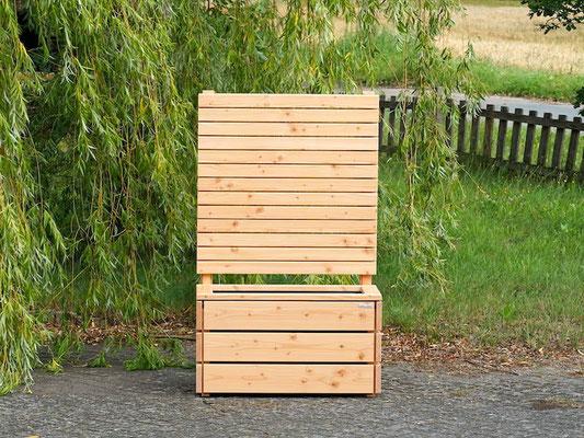 Pflanzkasten / Pflanzkübel Holz M mit Sichtschutz, Länge: 92 cm, Höhe: 150 cm, Oberfläche: Natur Geölt
