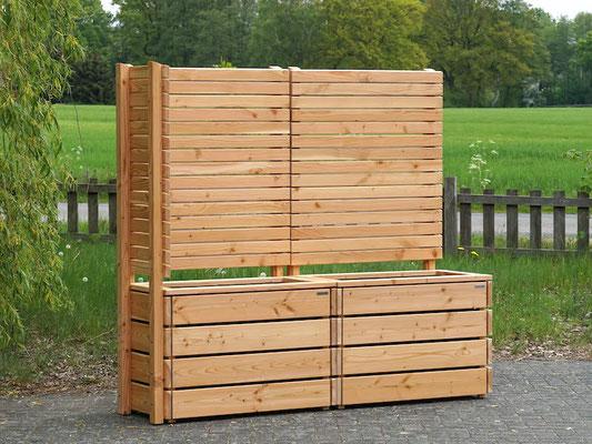 Pflanzkasten Holz Ecke mit Sichtschutz nach Maß, Oberfläche: Natur Geölt - Höhe: 180 cm