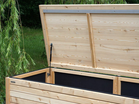 Auflagenbox / Kissenbox Holz nach Maß, Oberfläche: Natur - Mit Gasdruckfedern