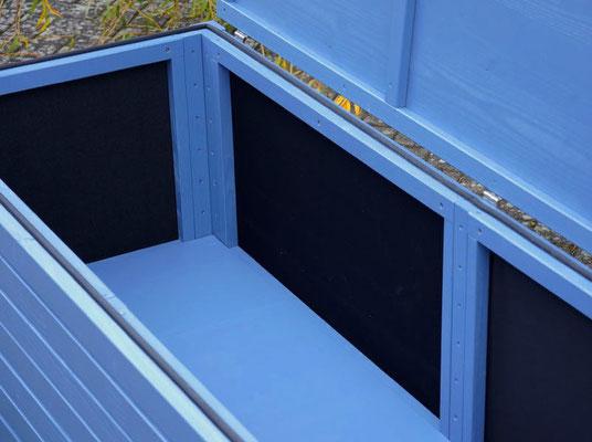 Auflagenbox / Kissenbox Holz, Oberfläche: Taubenblau RAL 5014
