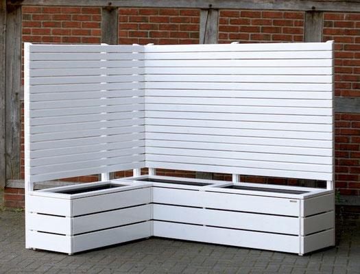 Pflanzkasten Holz Ecke mit Sichtschutz, Oberfläche: RAL 9016 Weiß