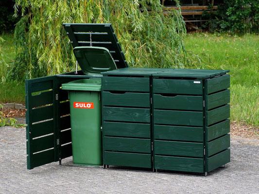 3er Mülltonnenbox / Mülltonnenverkleidung Holz 120 L, Oberfläche: Tannengrün (RAL 6009)