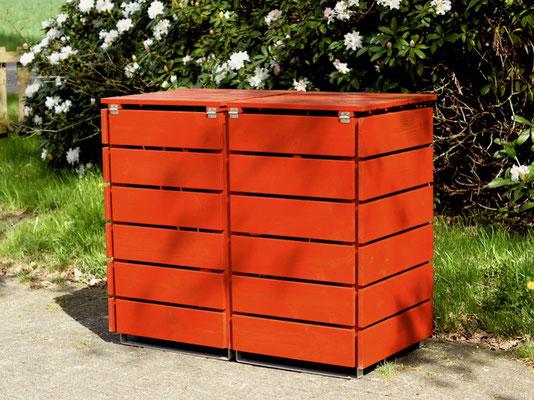 Rückseite 2er Mülltonnenbox / Mülltonnenverkleidung Holz für 60 L / 80 L / 120 L Mülltonnen, Oberfläche: Deckend Geölt Skandinavisch Rot