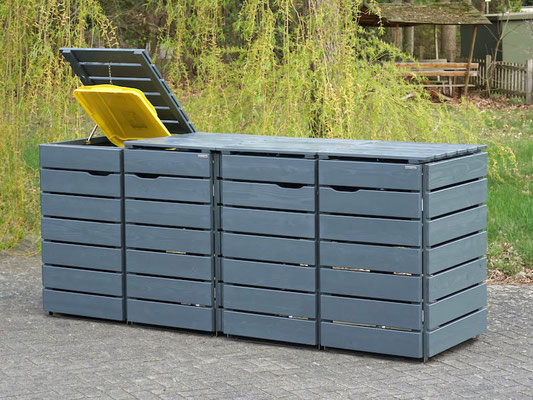 4er Mülltonnenbox / Mülltonnenverkleidung Holz für 240 L Mülltonnen, Oberfläche: Steingrau