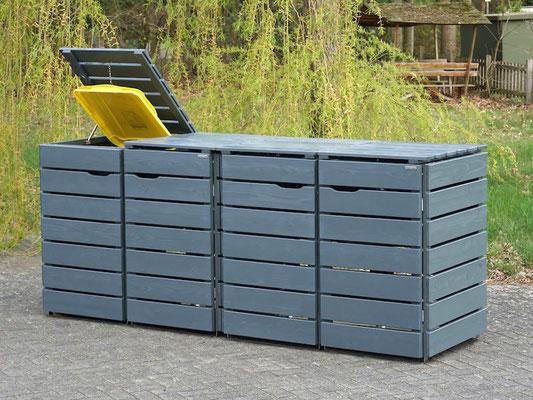4er Mülltonnenbox / Mülltonnenverkleidung Holz für 240 L Mülltonnen, Oberfläche: Steingrau (RAL 7012)