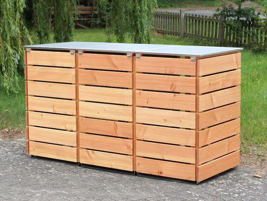 3er Mülltonnenbox Edelstahl / Holz - Deckel, Oberfläche: Transparent Geölt Natur