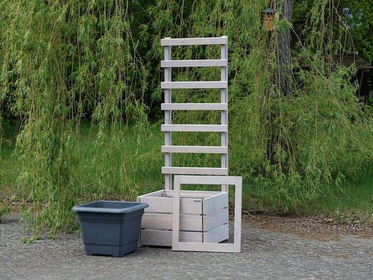 Pflanzkübel Holz L mit Rankgitter / Spalier, Oberfläche: Transparent Grau